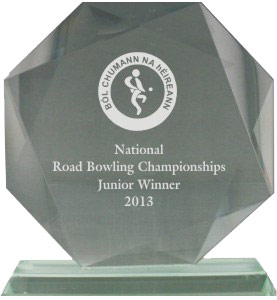 Road Bowling Glass Plaque small